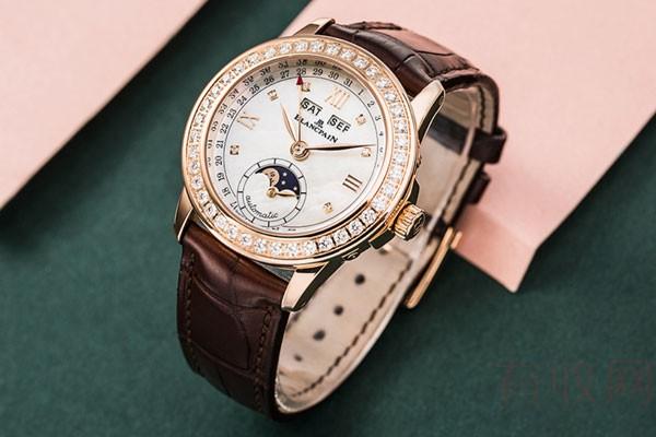 宝珀女装系列18k玫瑰金月相二手手表回收平台哪个最好