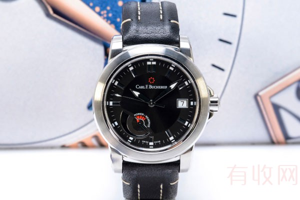 二手宝齐莱牛皮动力储备显示手表在典当行回收值钱吗